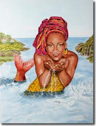 Mermaid with a headwrap on.
