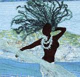 Black mermaid with locs underwater.