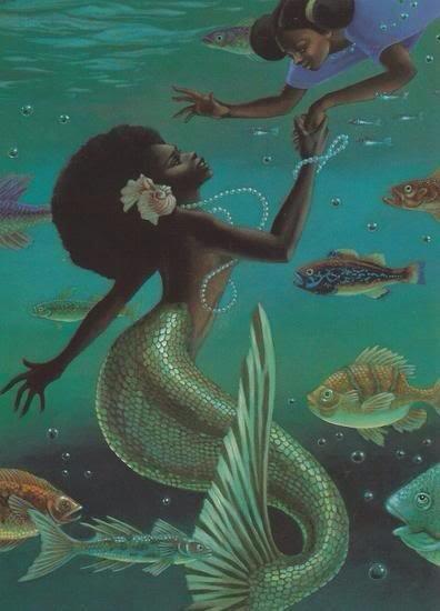 What a beautiful image of a Black mermaid with a Black child.