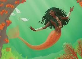 Black mermaid with locs swimming underwater.