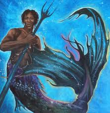 Black merman with locs and trident.