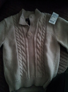 Cherokee cable  knit sweater for (drum roll please ...) $1.50!