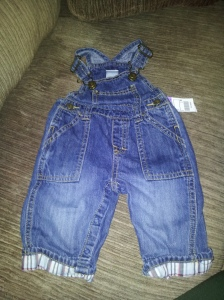 Cute little overalls with a cuffed bottom for $1.00.