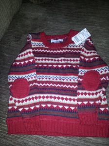 I just bought a sweater with patches on Wednesday, He just bought a shirt with patches on Thursday, just got this one today .... for $1.50!