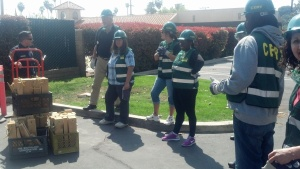 Some of the CERT team during the cribbing exercise.