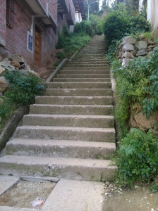 The stairs we walked down in Cusco that made my legs shake. I thought that I was going to fall out. Those stairs are no joke! Lol