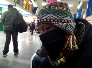 Waiting on a bus at the station in Cusco. Peruvian ninja! Lol