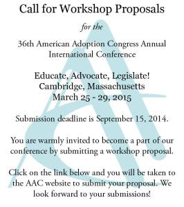 American Adoption  Congress Conference proposals are open.