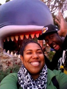 The whale from Storybook Land is about to attack us at Disneyland in Anaheim! Lol