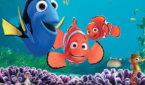 Dory, Marlin and Nemo from the movie Finding Nemo.