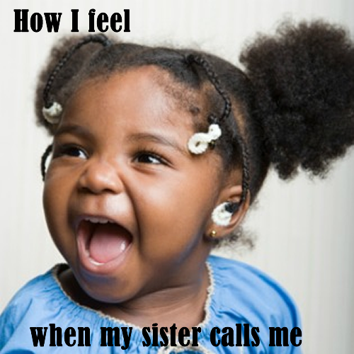 African American toddler is excited because her sister called her.