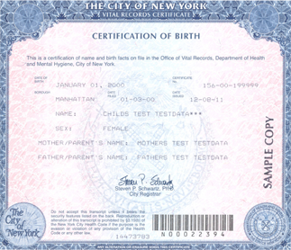 Birth certificate sample NY