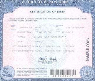 Birth certificate sample NY