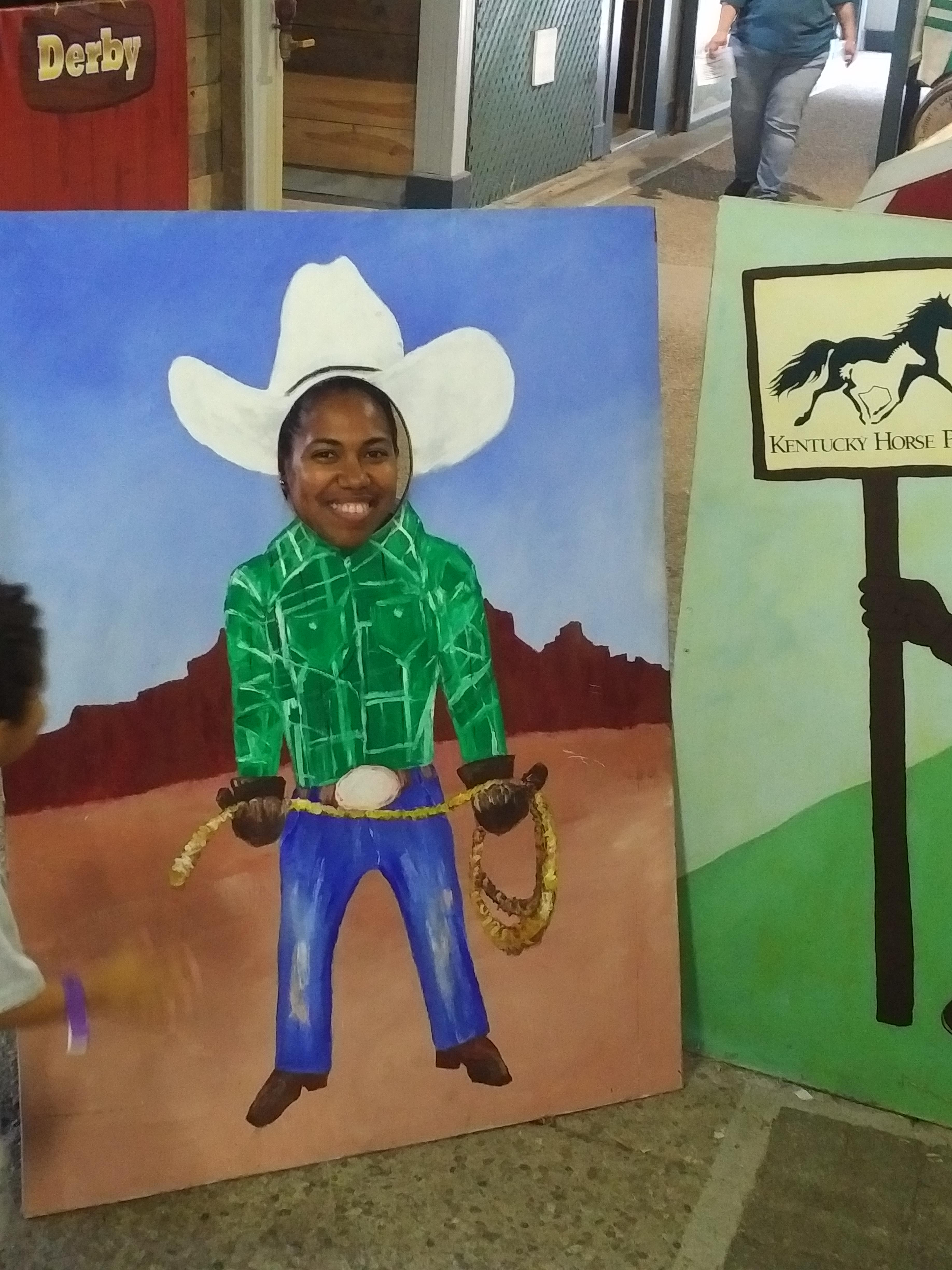 2018 KY Lexington Kentucky Horse Park Museum of the Horse Arabian horse exhibit cutouts Shay cowgirl