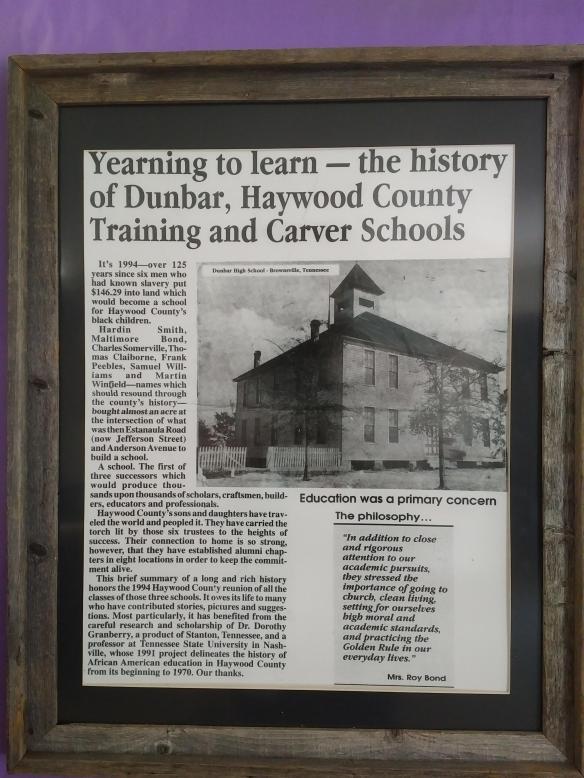 2018 TN Brownsville Dunbar Carver Museum history